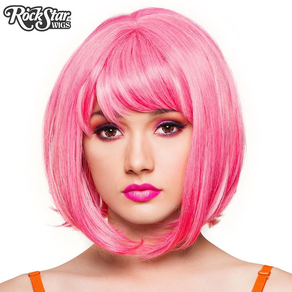 perruque courte rose drag cosplay