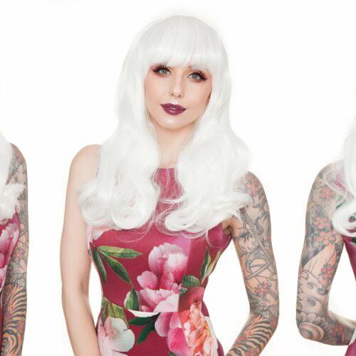 Perruque blanche travesti dragqueen