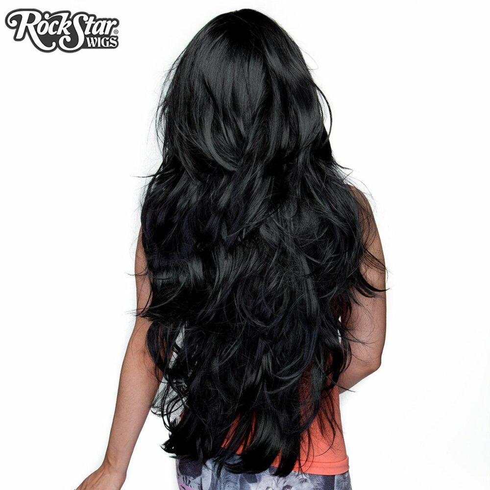 Perruque longue noire arrière mèches pointues