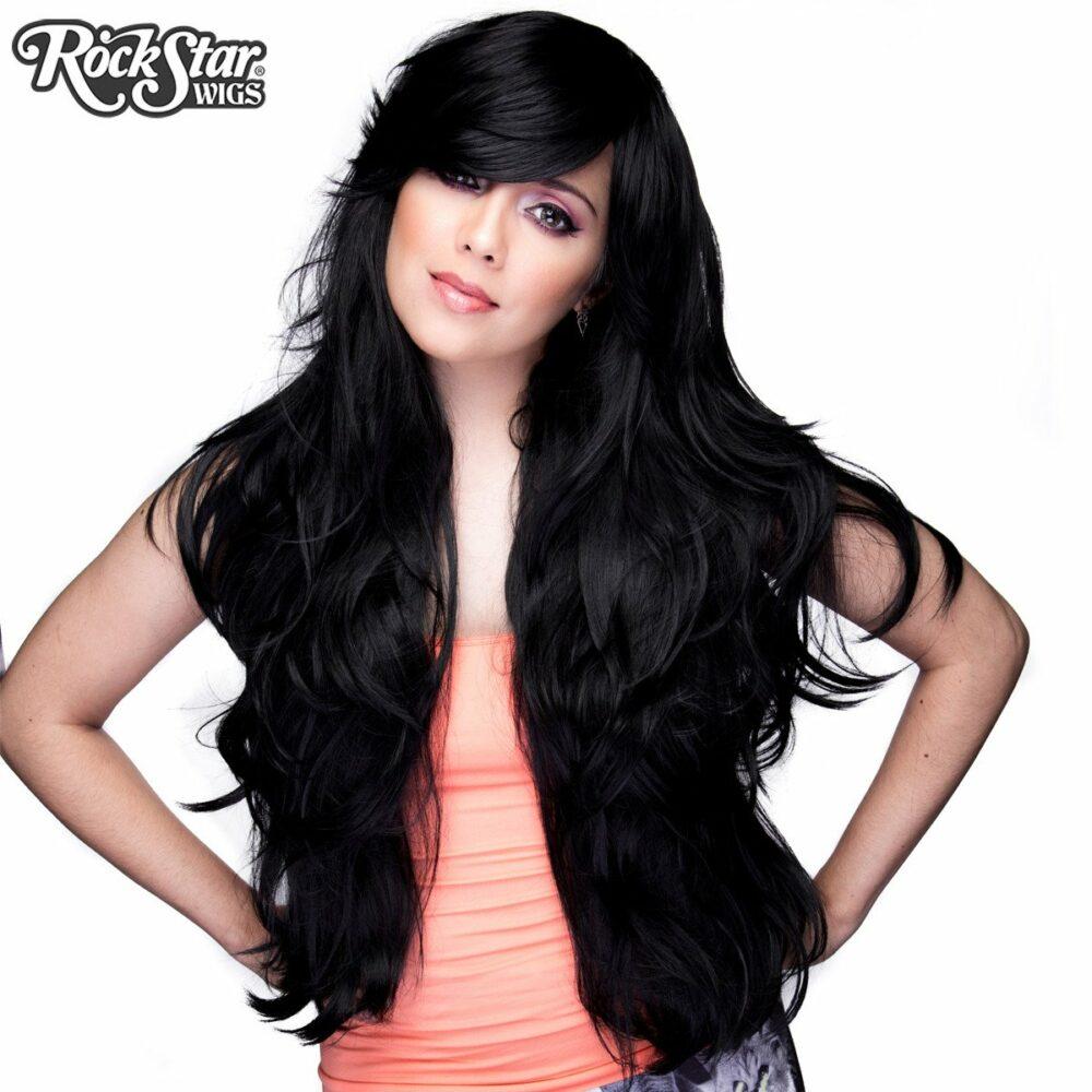 perruque longue noire drag queen