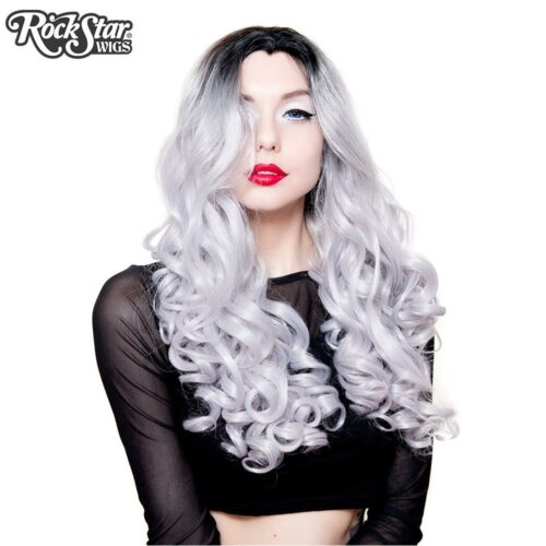 perruque argentée bouclée drag queen