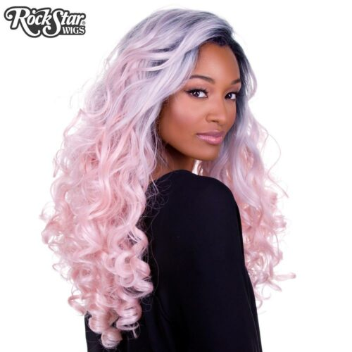 perruque rose pastel bouclée drag queen