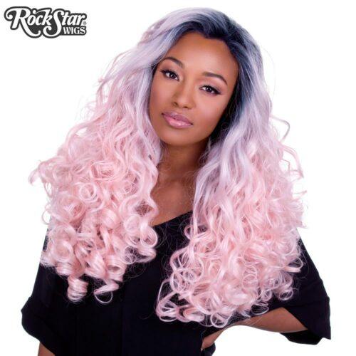 perruque rose pastel bouclée femme homme
