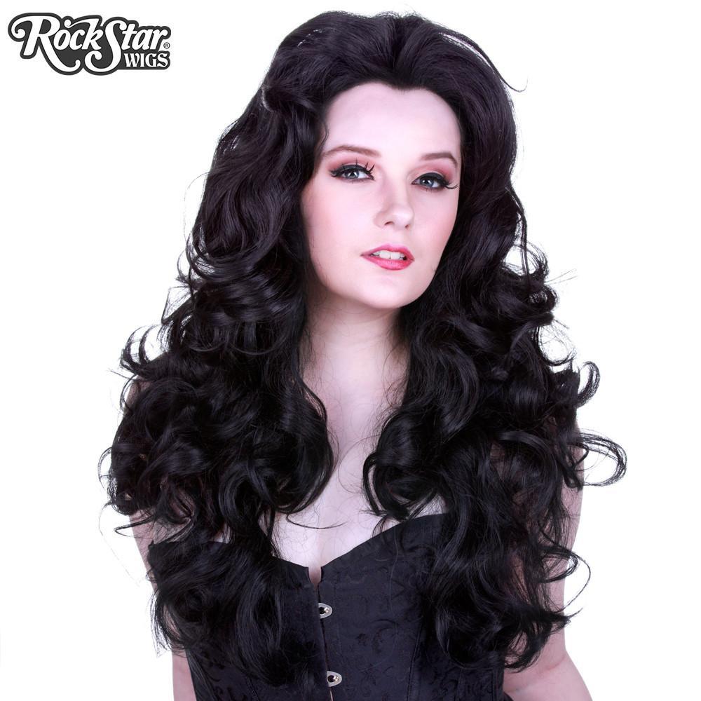 perruque noire bouclée drag queen