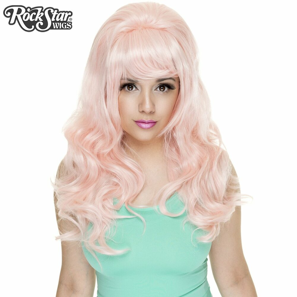 Perruque rose pastel boucle femme homme