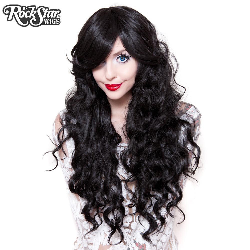 perruque noire ondulée femme homme