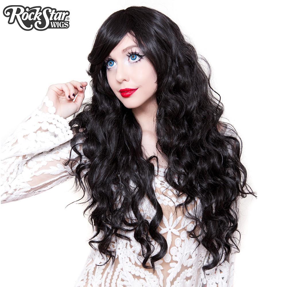 perruque noire ondulée drag queen