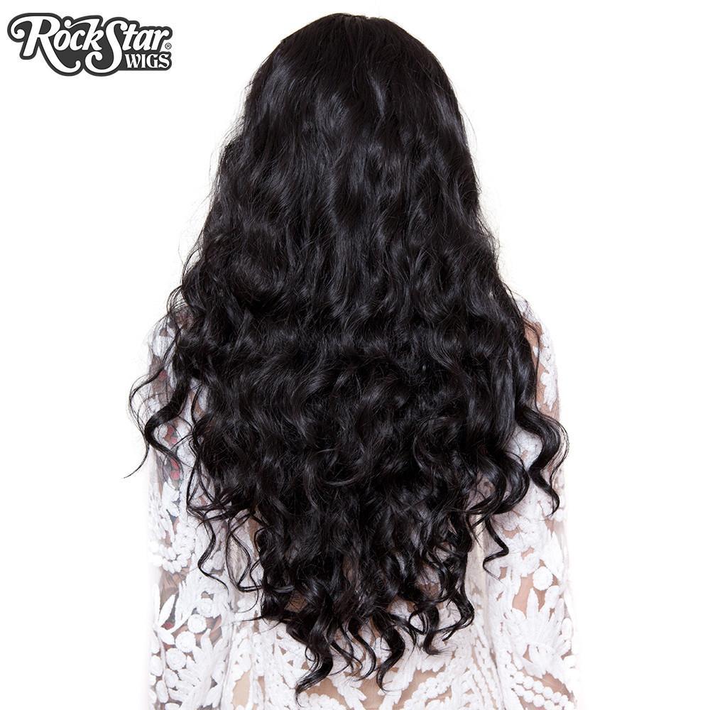Perruque noire ondulée arrière coupe droite