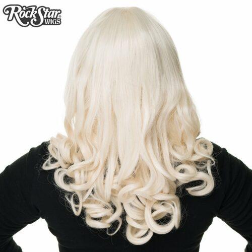 perruque blonde bouclée de dos