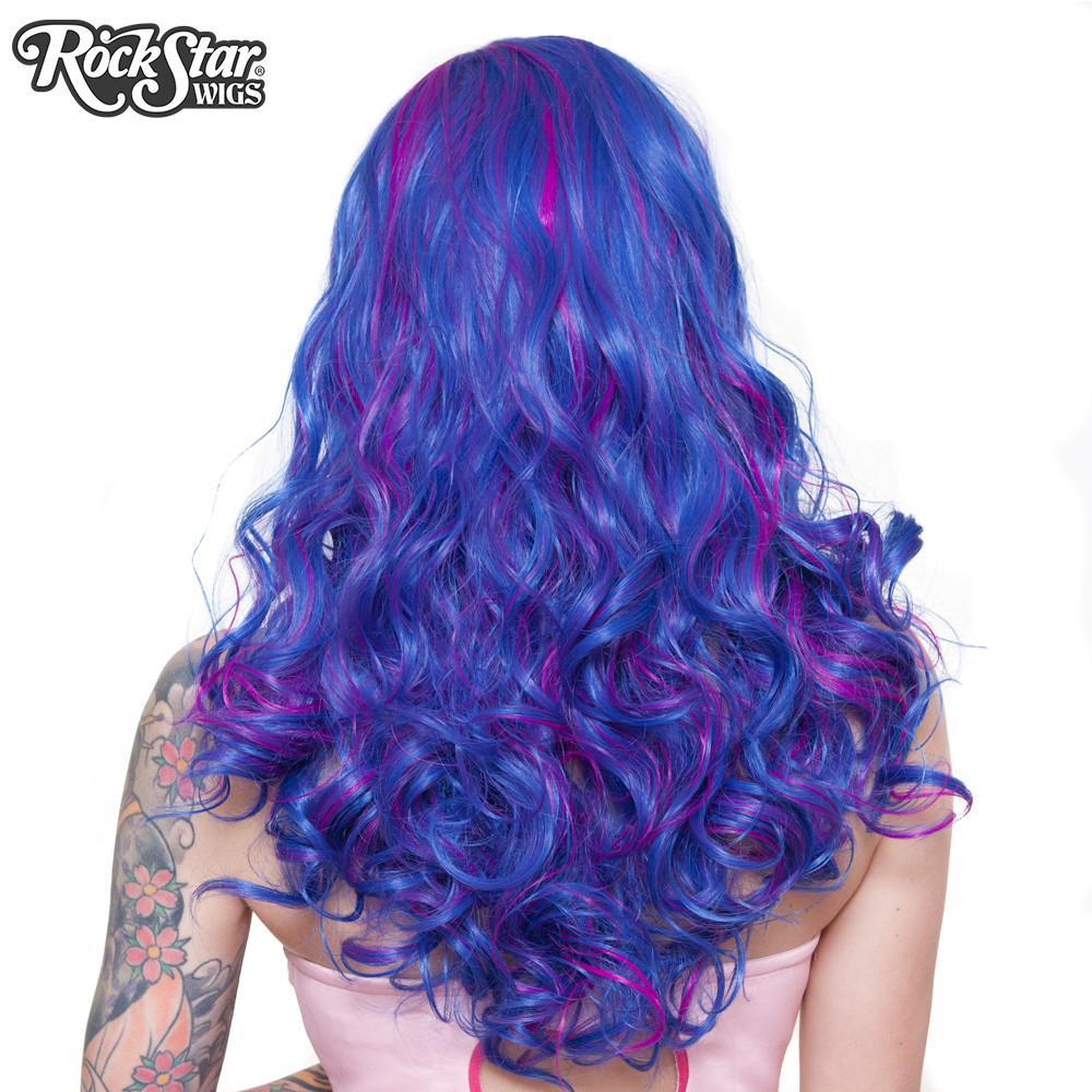 Perruque bleu magenta ondulée arrière coupe droite