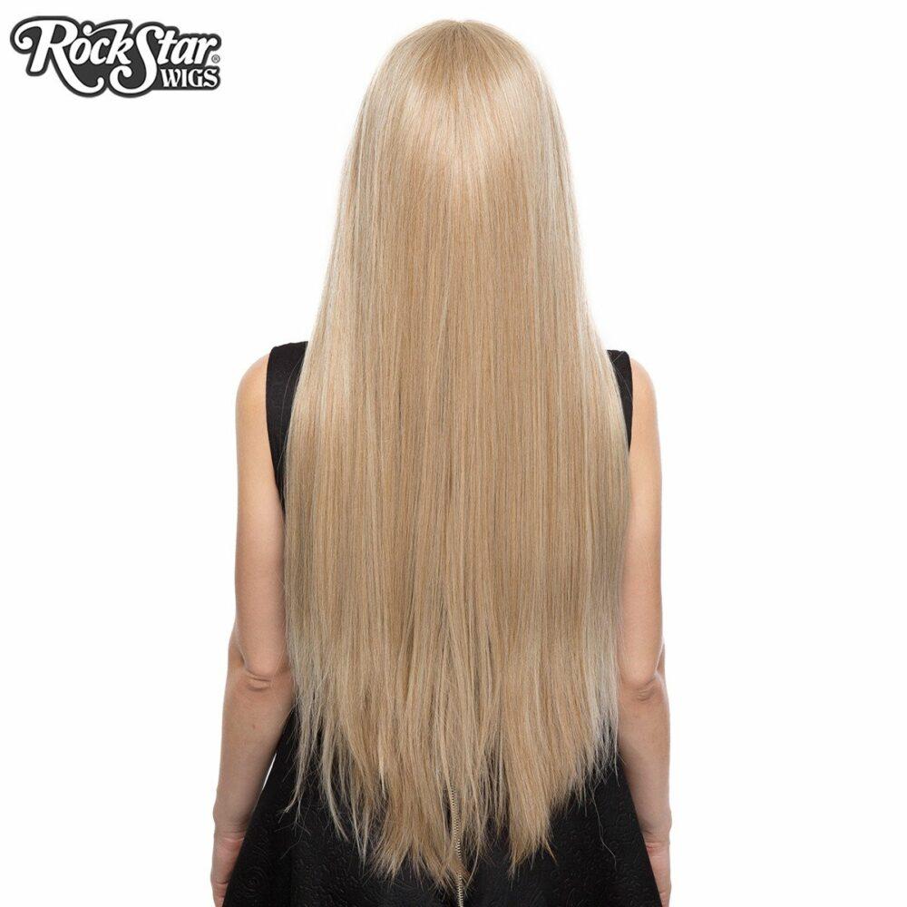 Perruque blonde longue yaki arrière coupe droite