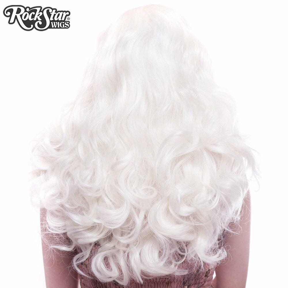 Perruque blonde platine ondulée arrière coupe droite