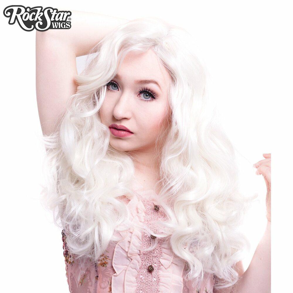 perruque blonde platine ondulée femme homme