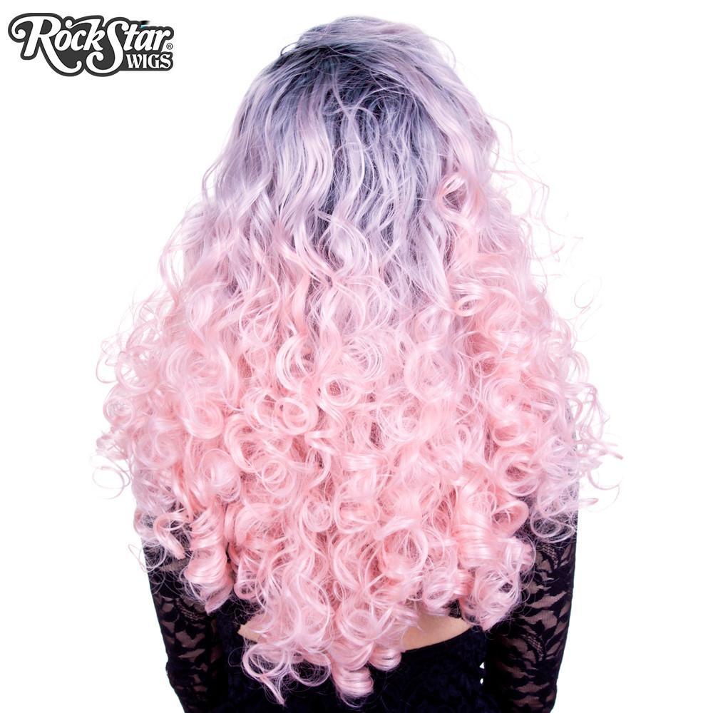 Perruque rose pastel bouclée arrière coupe droite