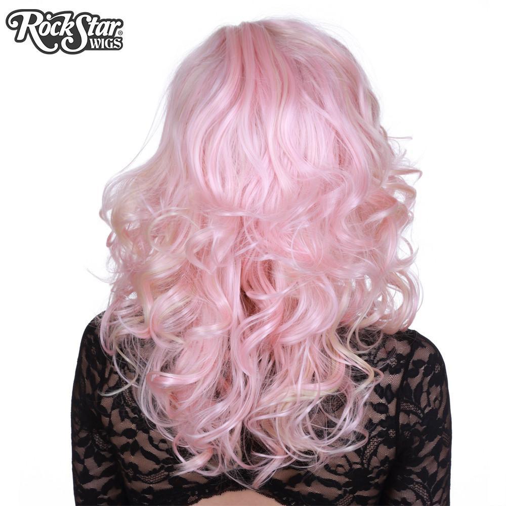 Perruque rose blond bouclée arrière coupe droite
