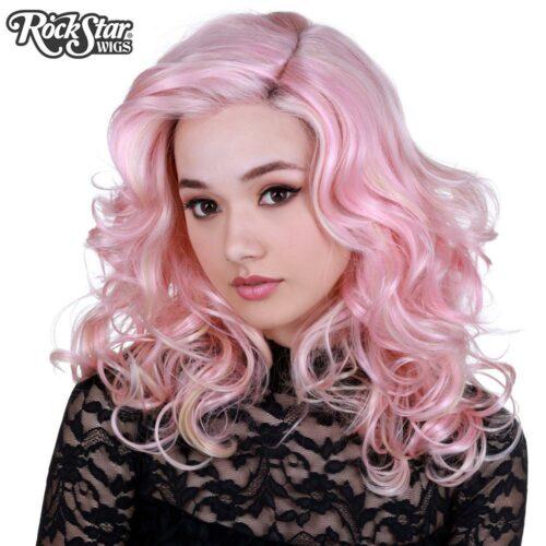 Perruque rose blond bouclée femme homme
