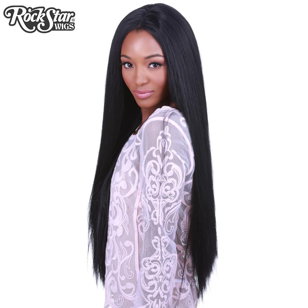 perruque noire longue yaki drag queen