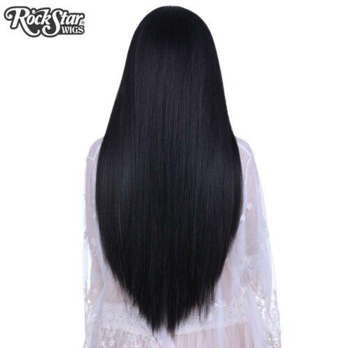 Perruque noire longue yaki arrière coupe droite