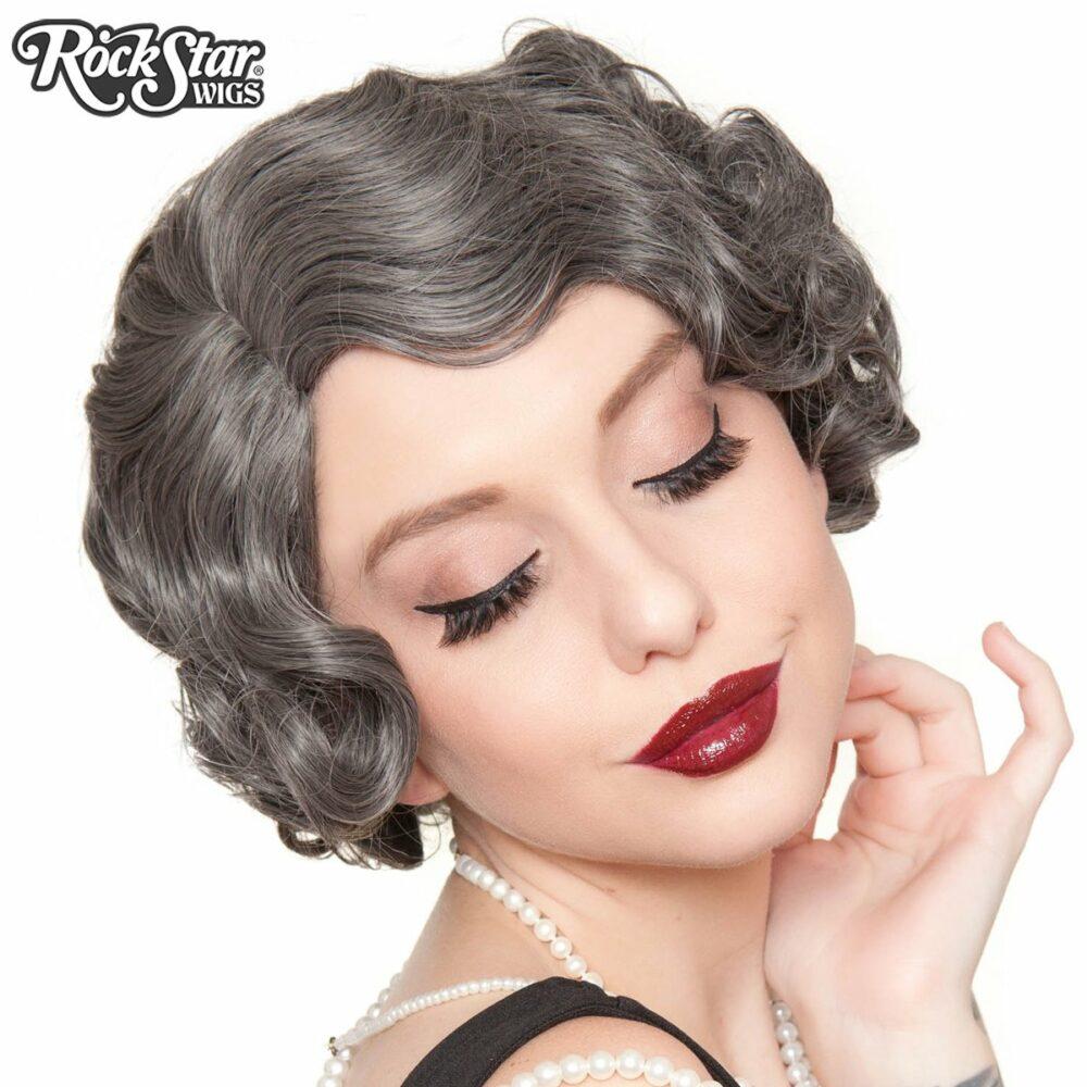 perruque grise courte retro femme homme