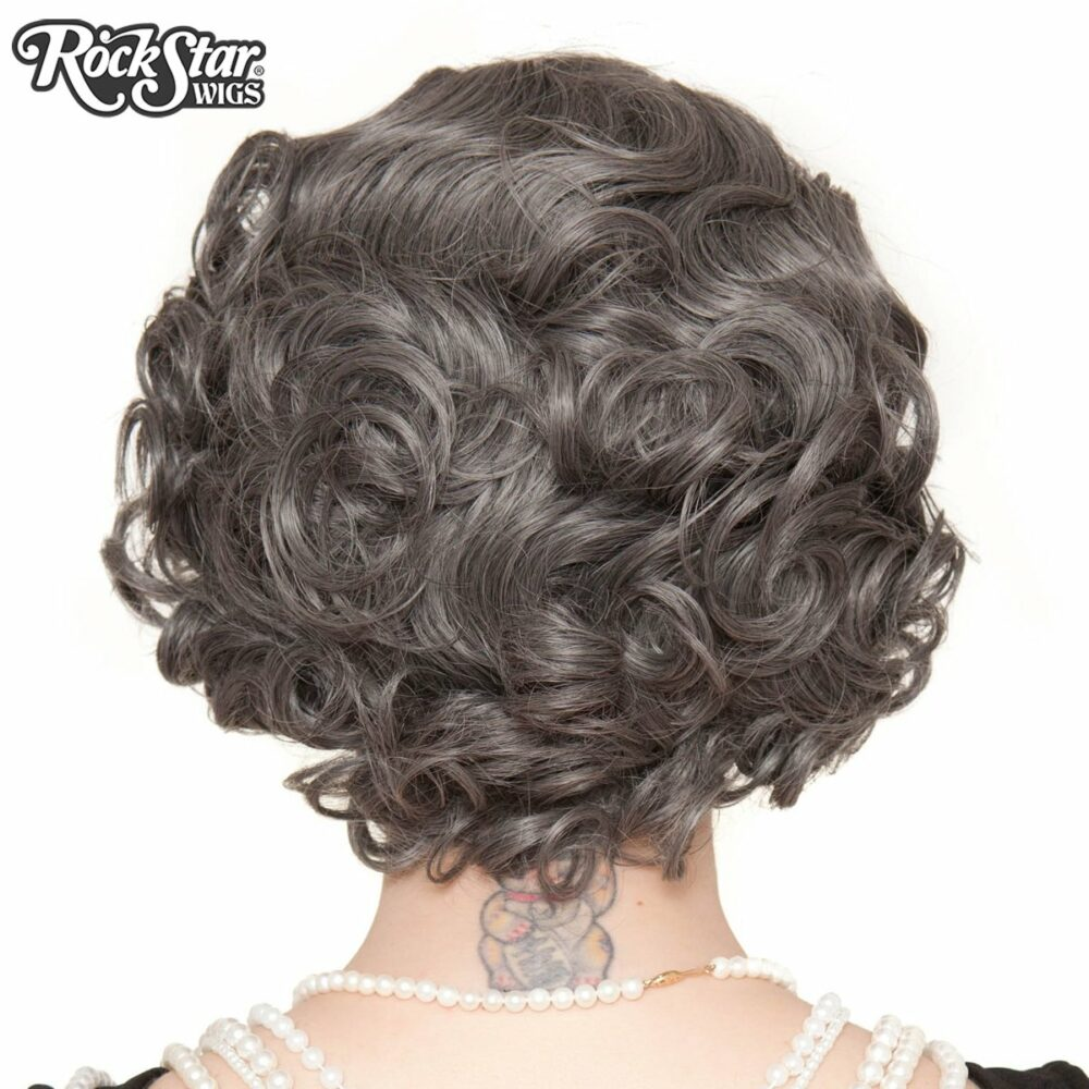 Perruque grise courte retro arrière coupe droite
