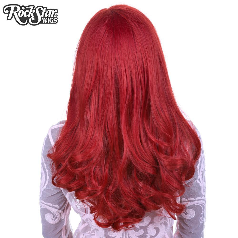 Perruque rouge ondulée arrière coupe droite
