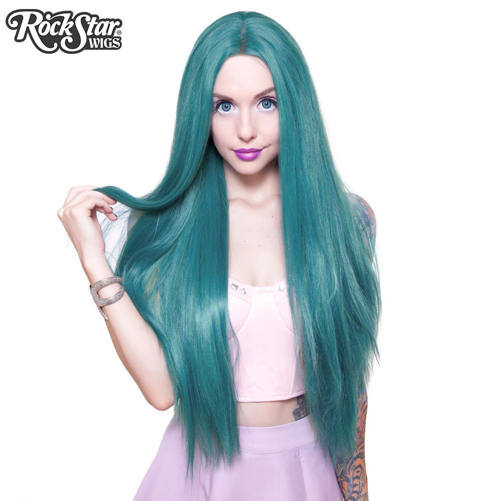 perruque turquoise longue yaki drag queen