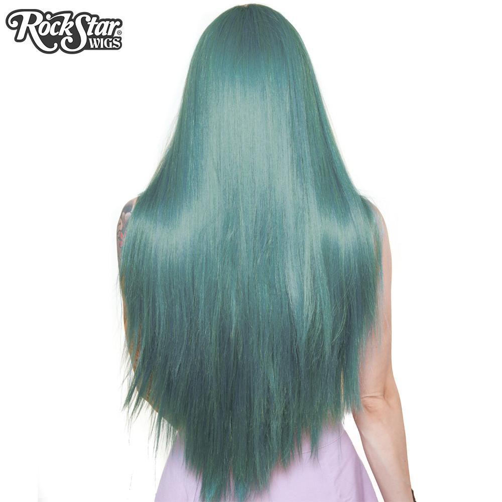 Perruque turquoise longue yaki arrière coupe droite