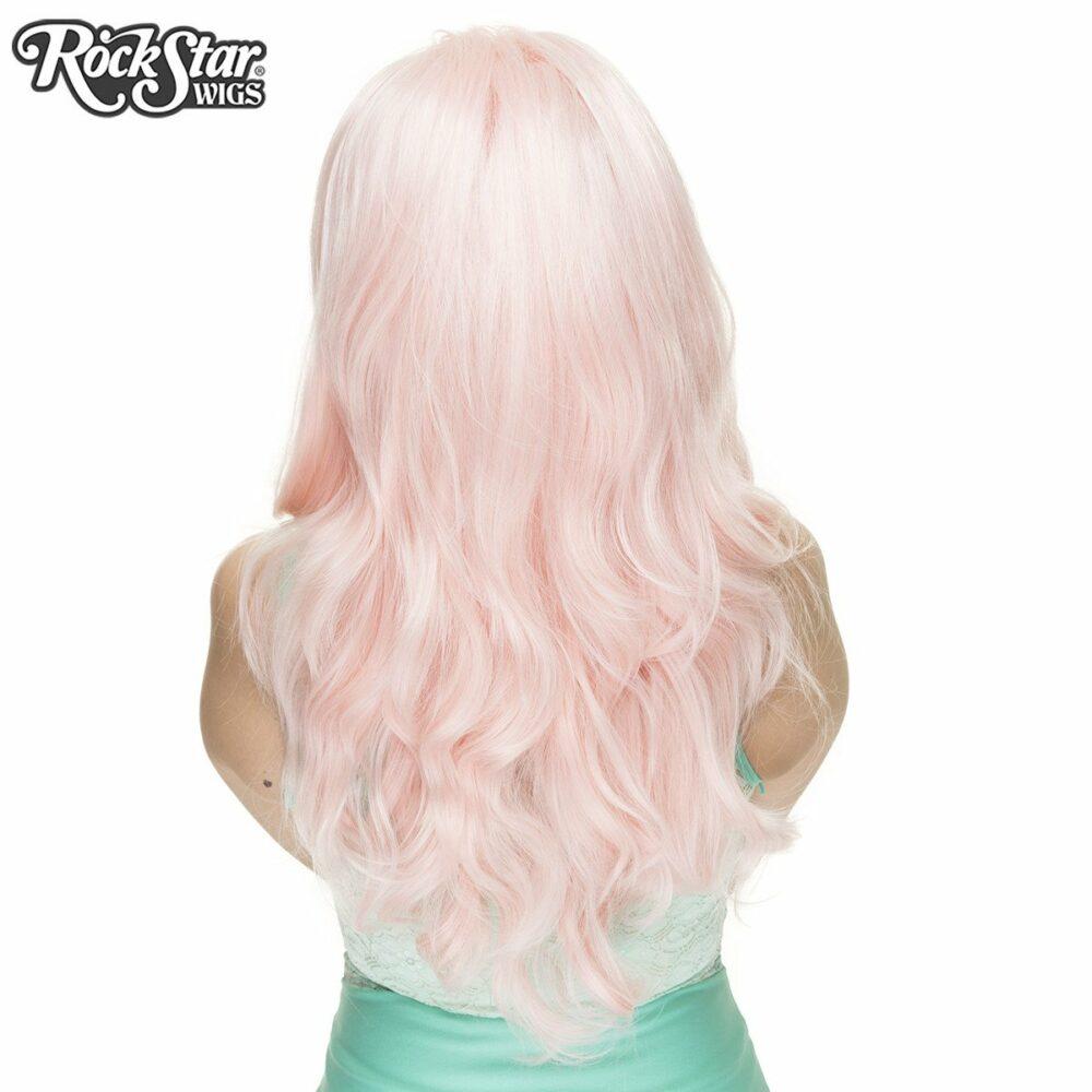Perruque rose pastel boucle arrière coupe droite