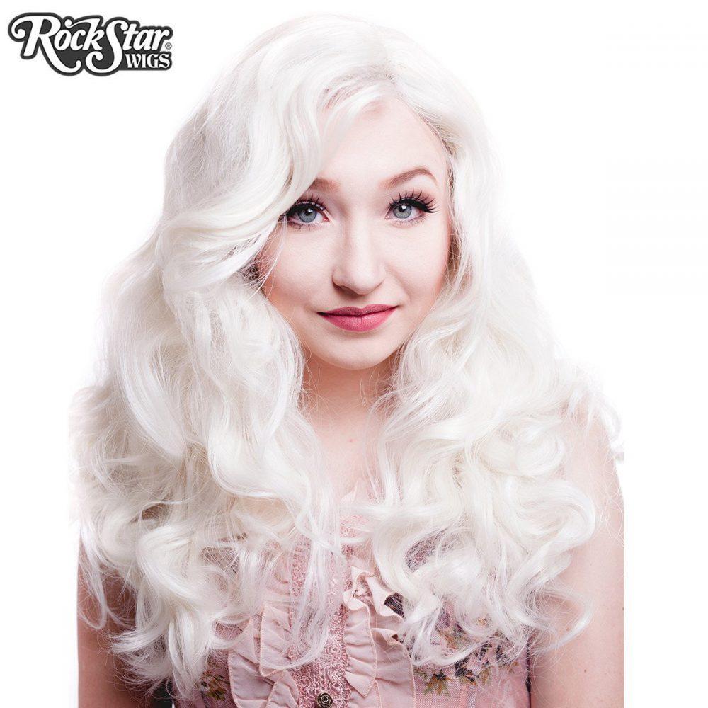 Perruque blonde platine ondulée transformiste